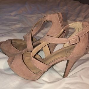 Light Pink Suede Heels